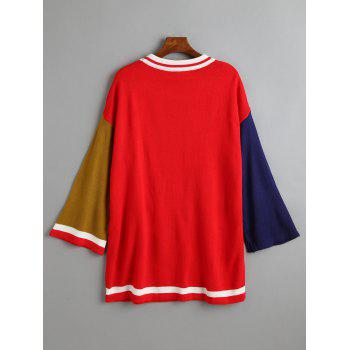 Knit Plus Size Color Block Tunic Sweater - RED 5XL