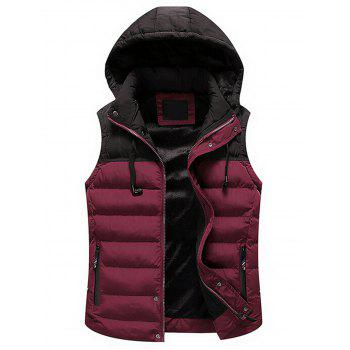 Zip Up Color Block Hooded Padded Vest - RED RED