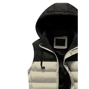 Zip Up Color Block Hooded Padded Vest - KHAKI 2XL
