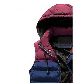 Zip Up Color Block Hooded Padded Vest - DEEP BLUE XL