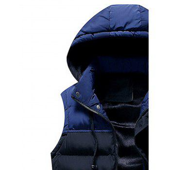 Zip Up Color Block Hooded Padded Vest - CADETBLUE CADETBLUE