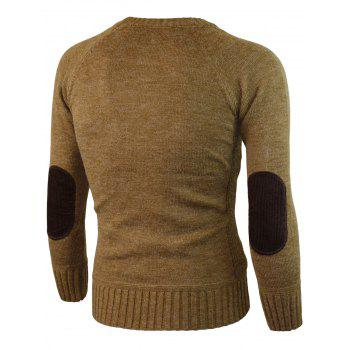 Ribbed Edge Knitted Pullover Sweater - KHAKI XL