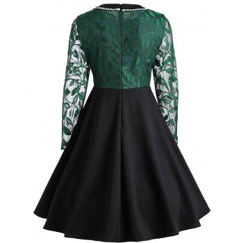 Leaf Lace Insert Vintage Dress - BLACKISH GREEN XL