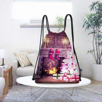 Fireplace and Christmas Tree Printed Drawstring Backpack - COLORFUL