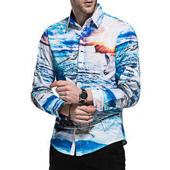 Sailboat Seagull Print Casual Shirt - COLORMIX M