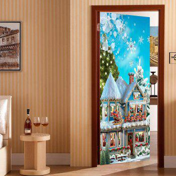 Environmental Removable Christmas Castle Printed Door Stickers - COLORFUL 38.5*200CM*2PCS