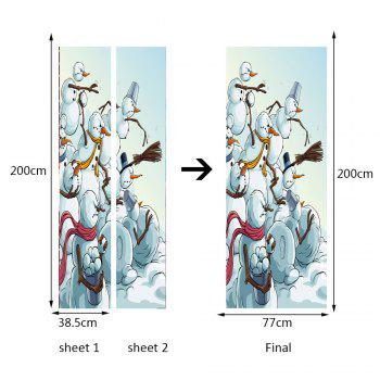 Environmental Removable Multi Snowman Printed Door Stickers - WHITE 38.5*200CM*2PCS