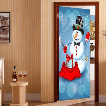 Environmental Removable Snowman Magician Printed Door Stickers - COLORFUL 38.5*200CM*2PCS