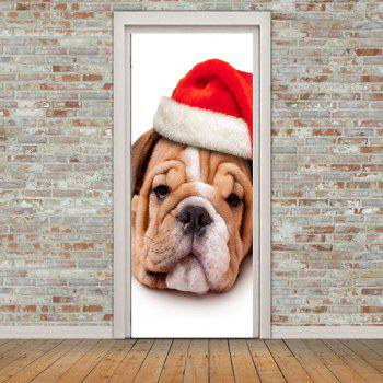 Decorative Eco-friendly Christmas Dog Pattern Door Stickers - GOLD/BROWN 38.5*200CM*2PCS
