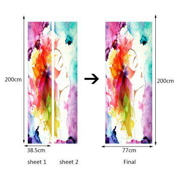 Flower Ink Painting Pattern Door Stickers - COLORFUL 38.5*200CM*2PCS