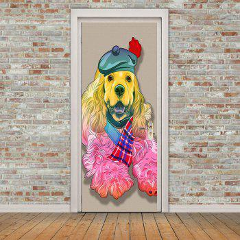 Hatted Dog Pattern Door Stickers - COLORFUL 38.5*200CM*2PCS