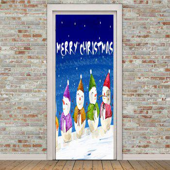 Snowmen Christmas Greetings Pattern Door Stickers - COLORFUL 38.5*200CM*2PCS