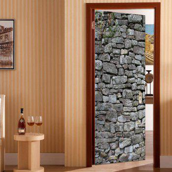 Rock Wall Patterned Door Art Stickers - GRAY 38.5*200CM*2PCS