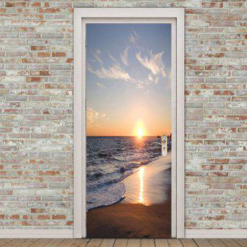 Seaside Sunset Patterned Door Art Stickers - COLORFUL 38.5*200CM*2PCS