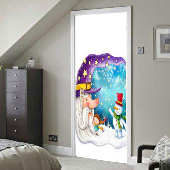 Moon Old Man Pattern Environmental Removable Door Stickers - COLORFUL 38.5*200CM*2PCS