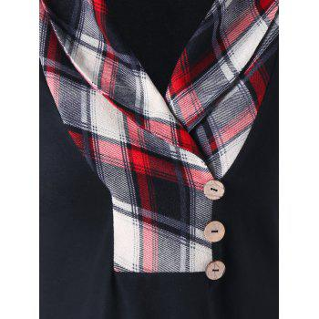 Plaid Shawl Collar T-shirt - BLACK XL