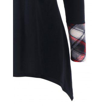 Plaid Shawl Collar T-shirt - BLACK 2XL