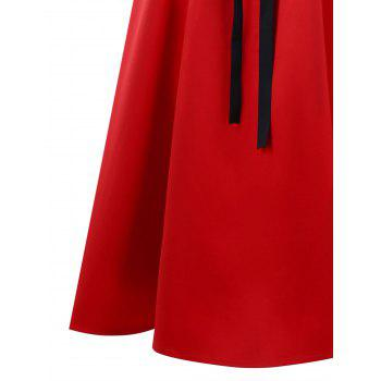 Lace Up Maxi Fishtail Skirt - RED L