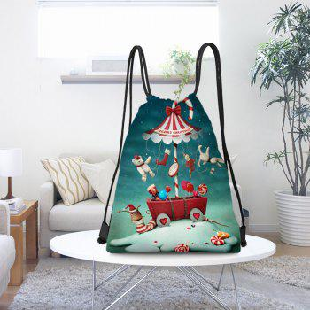 Candy World Printed Christmas Drawstring Backpack - COLORFUL