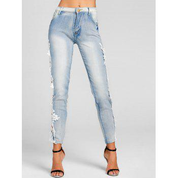 Lace Panel Light Wash Skinny Jeans - DENIM BLUE S