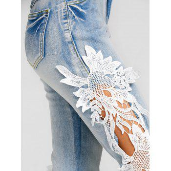 Lace Panel Light Wash Skinny Jeans - DENIM BLUE M