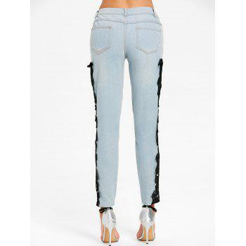 Light Wash Lace Panel Skinny Jeans - BLACK L