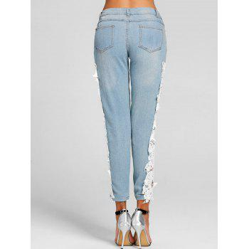 Light Wash Lace Panel Skinny Jeans - WHITE S