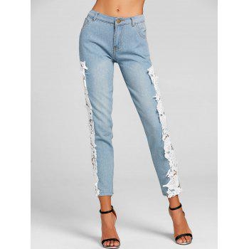 Light Wash Lace Panel Skinny Jeans - WHITE WHITE
