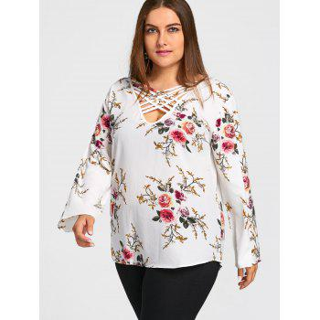 Plus Size Caged Cutout Floral Top - WHITE 5XL