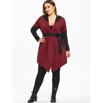 Plus Size Two Tone Hooded Coat with Belt - WINE RED XL