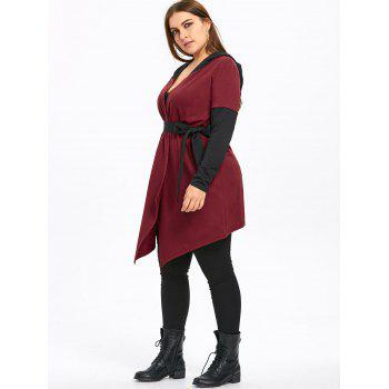 Plus Size Two Tone Hooded Coat with Belt - WINE RED 2XL