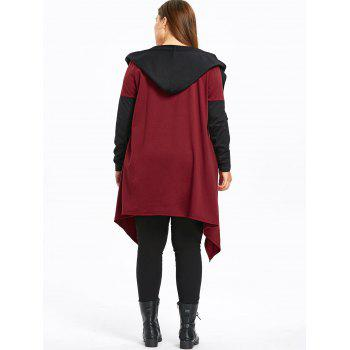 Plus Size Two Tone Hooded Coat with Belt - WINE RED 3XL