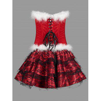 Ruffles Christmas Velvet Corset Dress Costume - RED RED