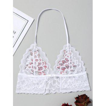 Scalloped Embroidered Sheer Lace Bralette - WHITE S