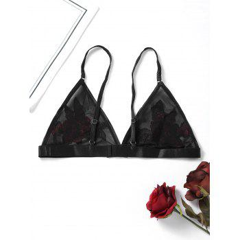 Embroidered Sheer Mesh Bralette - BLACK BLACK