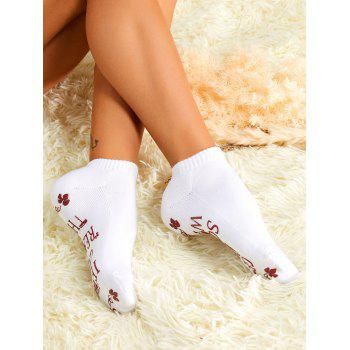 Pair of Graphic Ankle Socks - WHITE