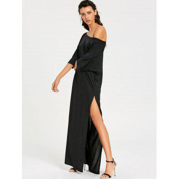 Maxi High Slit Skew Collar Dress - BLACK BLACK
