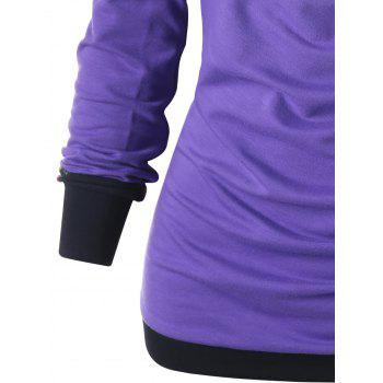 Button Ruched Hoodie - PURPLE M