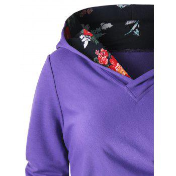 Button Ruched Hoodie - PURPLE 2XL