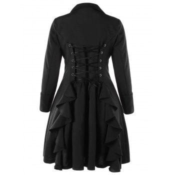 Plus Size Flounced Lace Up Coat - BLACK 5XL