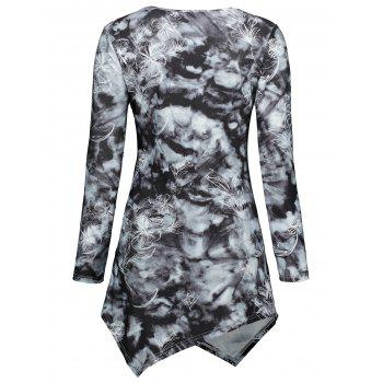 Tie Dye Long Sleeve Asymmetric Dress - BLACK L