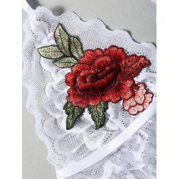 Scalloped Embroidered Sheer Lace Bralette - WHITE M