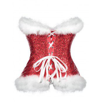 Christmas Sequined Feathers Trim Zip Corset - RED XL
