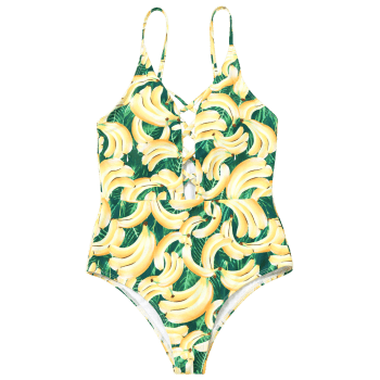 Banana Print Strappy One Piece Swimsuit - COLORMIX L