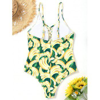 Banana Print Strappy One Piece Swimsuit - COLORMIX M