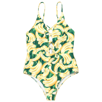 Banana Print Strappy One Piece Swimsuit - COLORMIX S