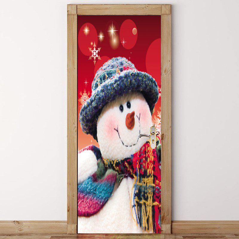 Christmas Home Decals Snowman Pattern Environmental Removable Door Stickers christmas skiing snowman pattern door stickers