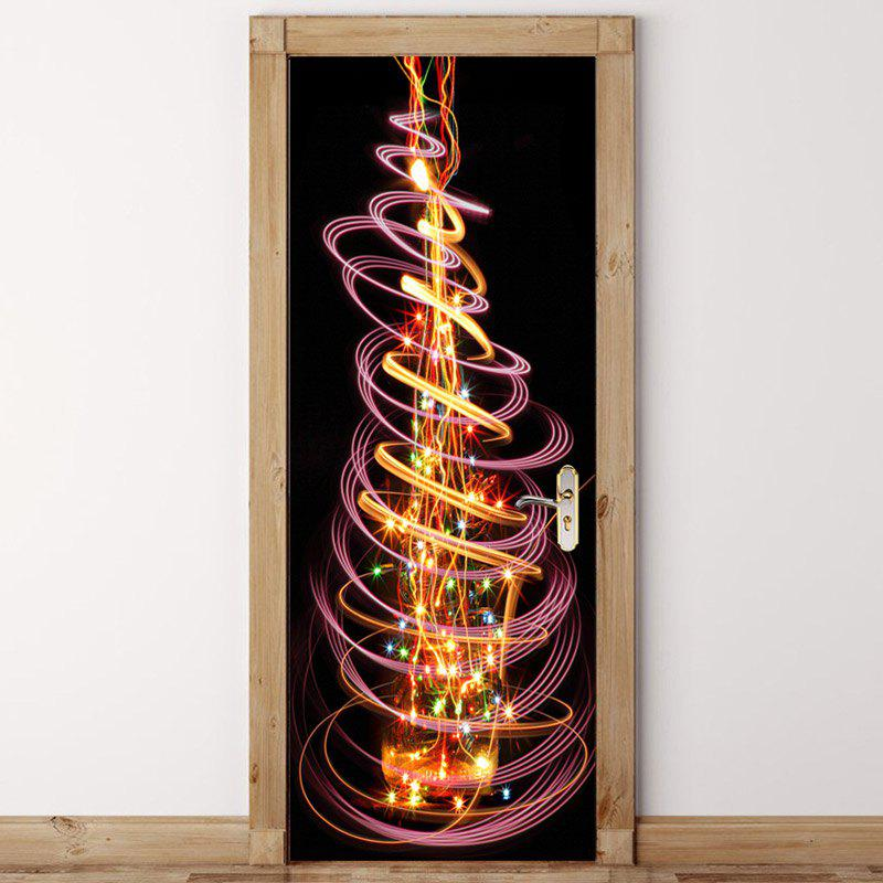 Autocollants de porte imprimée arbre de Noël brillant écologique - COLORFUL 38.5*200CM*2PCS