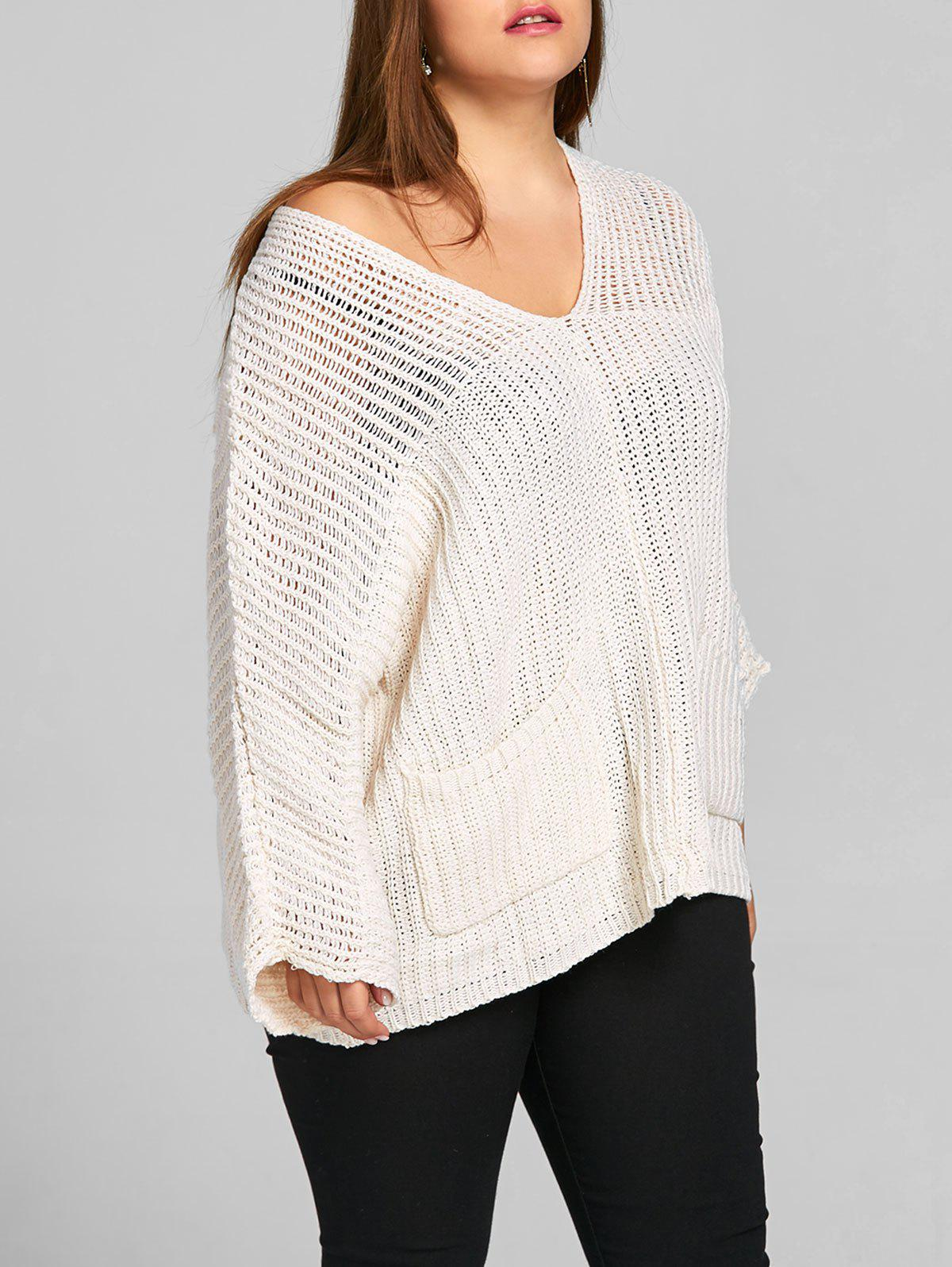 Batwing Sleeve Plus Size Chunky Sweater - OFF WHITE ONE SIZE