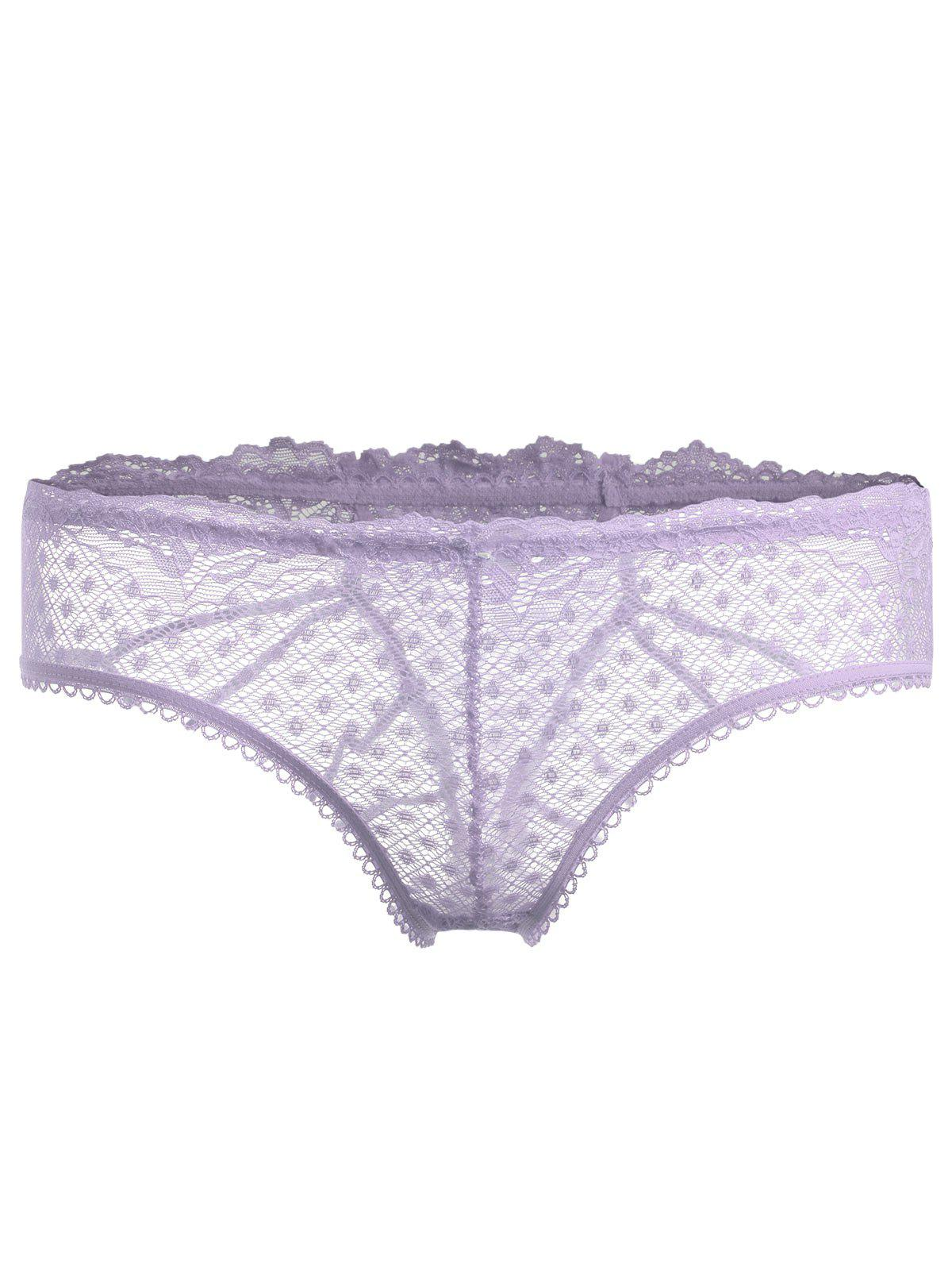 Lace Strappy See Thru Culotte - Pourpre ONE SIZE